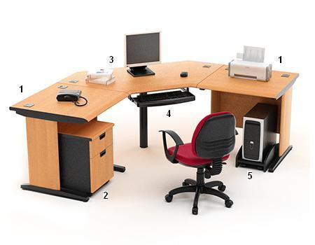 HighPoint Set Meja Kantor Five Series Cherry Workstation 2