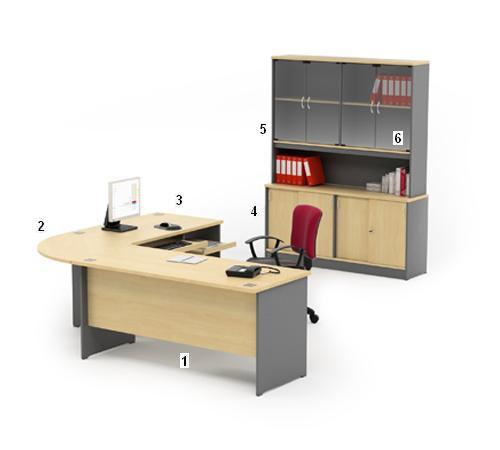 HighPoint Set Meja Kantor Kozy Mercury Series Workstation 5