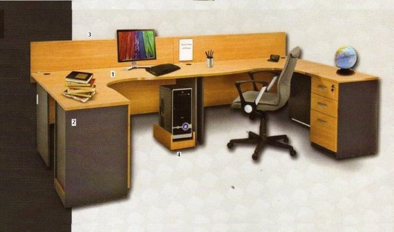 Global Set Meja Staff / Meja Kantor Executive Class Series 2