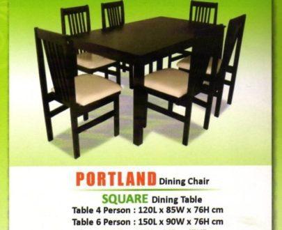 LB Meja Makan Square 6 Kursi Portland
